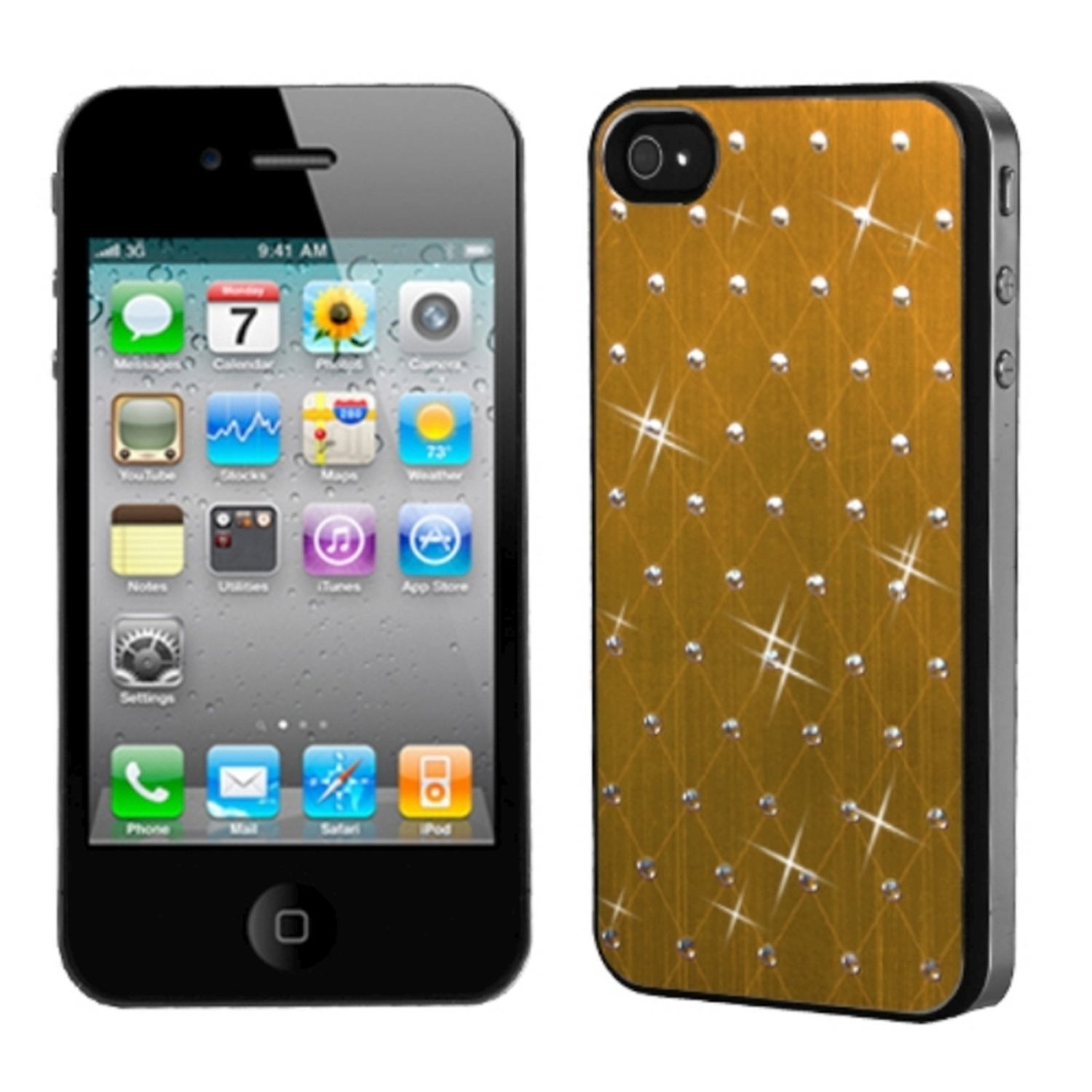 Insten Gold Studded Back Plate Case Cover (Black Sides) For iPhone 4 4S
