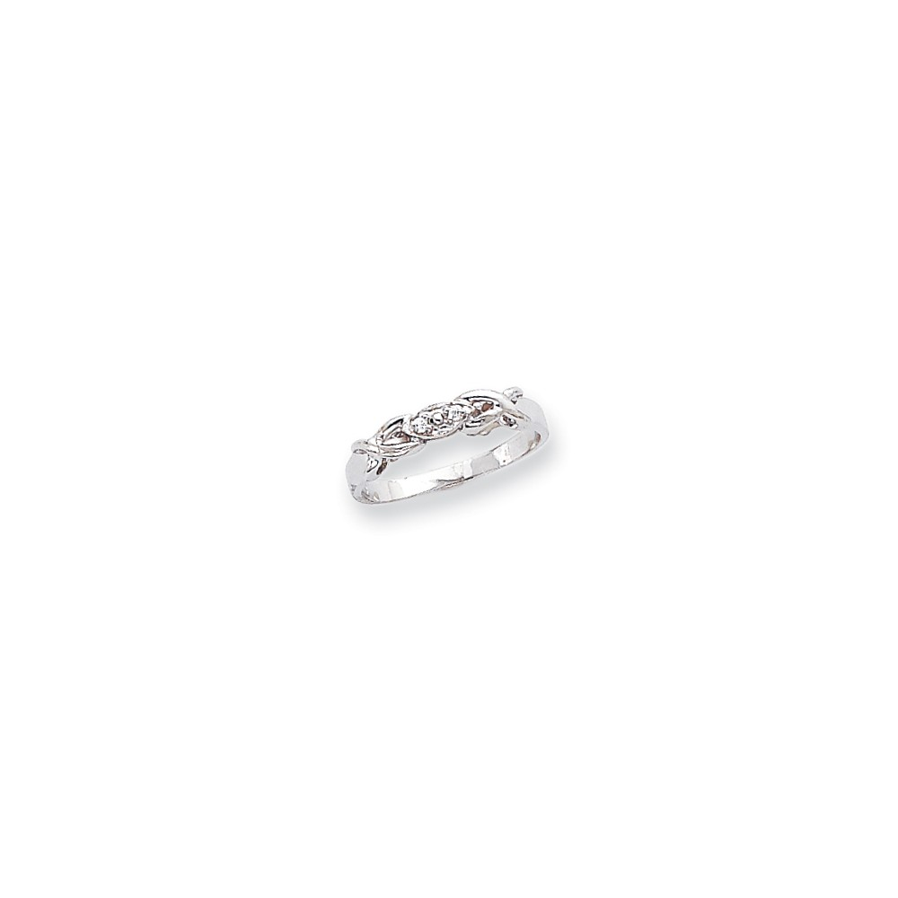14k White Gold Polished H-I SI2 Quality Diamond ring. Carat Wt- 0.036ct