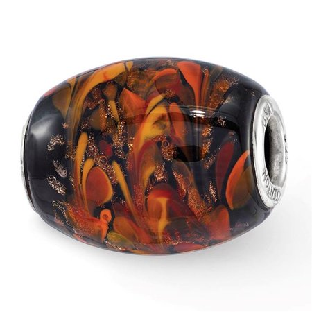 Reflection Beads QRS3701 Sterling Silver Reflections Black & Orange Autumn Fires Fenton Glass Bead - image 1 de 1