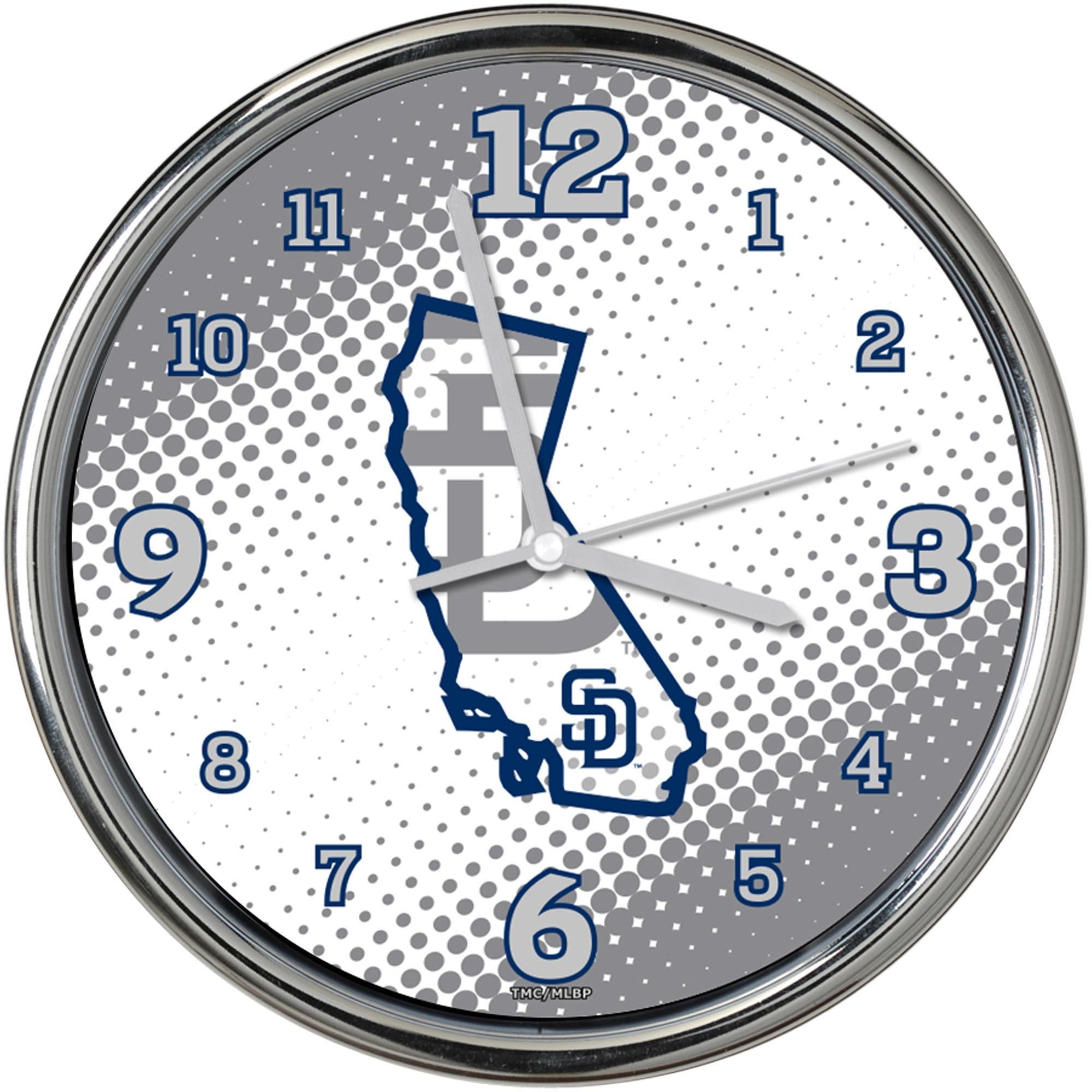 """San Diego Padres State of Mind 12"""" Chrome Wall Clock - No Size"""