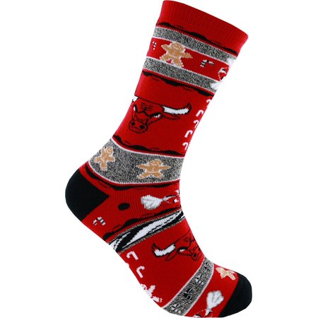 Chicago Bulls Ugly Christmas Xmas Holiday Sports Socks, Officially Licensed NBA Product By For Bare Feet