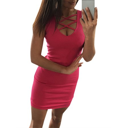 Sleeveless Women Solid Color Skinny Bandage Mini Dress Summer Sexy Club Wear
