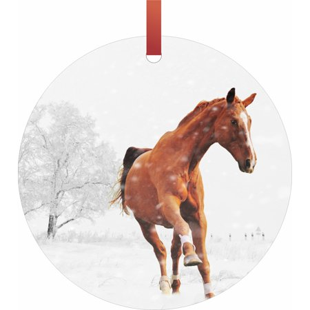 - Prancing Chestnut Horse in the Snow Flat Round - Shaped Christmas Holiday Hanging Tree Ornament Disc Made in the U.S.A.
