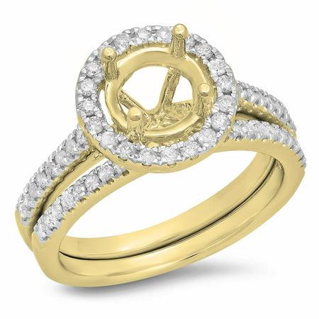 0.50 Carat (ctw) 18K Yellow Gold Round Diamond Ladies Halo Style Bridal Semi Mount Engagement Ring With Matching Band Se