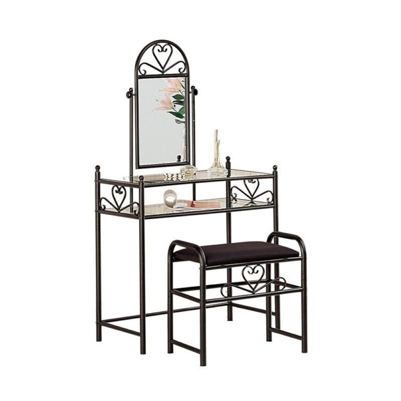 Bowery Hill Frosted Black Vanity Table Set in Black Velour
