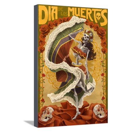 Day of the Dead - Skeleton Dancing Stretched Canvas Print Wall Art By Lantern (Day Of The Dead Artwork For Sale)