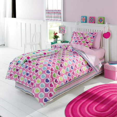 jumping beans twin bed in a bag colorful hearts comforter set sheets sham 5 pc. Black Bedroom Furniture Sets. Home Design Ideas