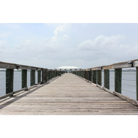 Canvas Print Pier Beach Leisure Jetty Shore Coast Wooden Stretched Canvas 10 x 14 ()