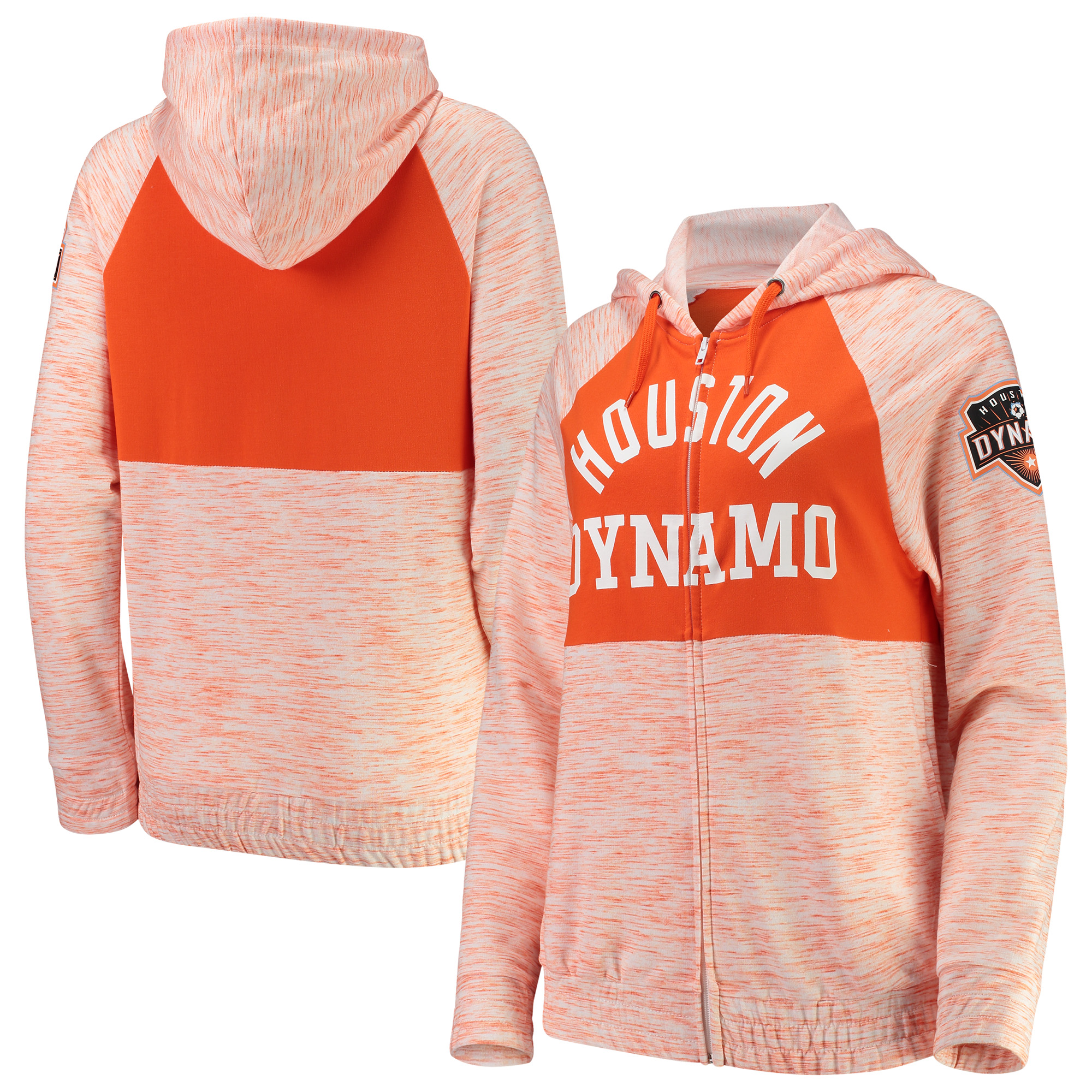 Houston Dynamo 5th & Ocean by New Era Women's Novelty Space Dye Full-Zip Hoodie - Orange