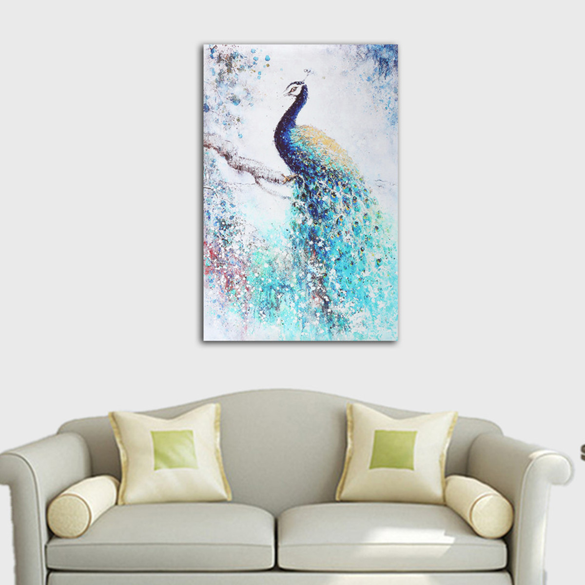 16''x24'' Unframed Print Canvas Wall Peacock Painting Picture Wall Hanging Home Living Room Art Decor Ornament