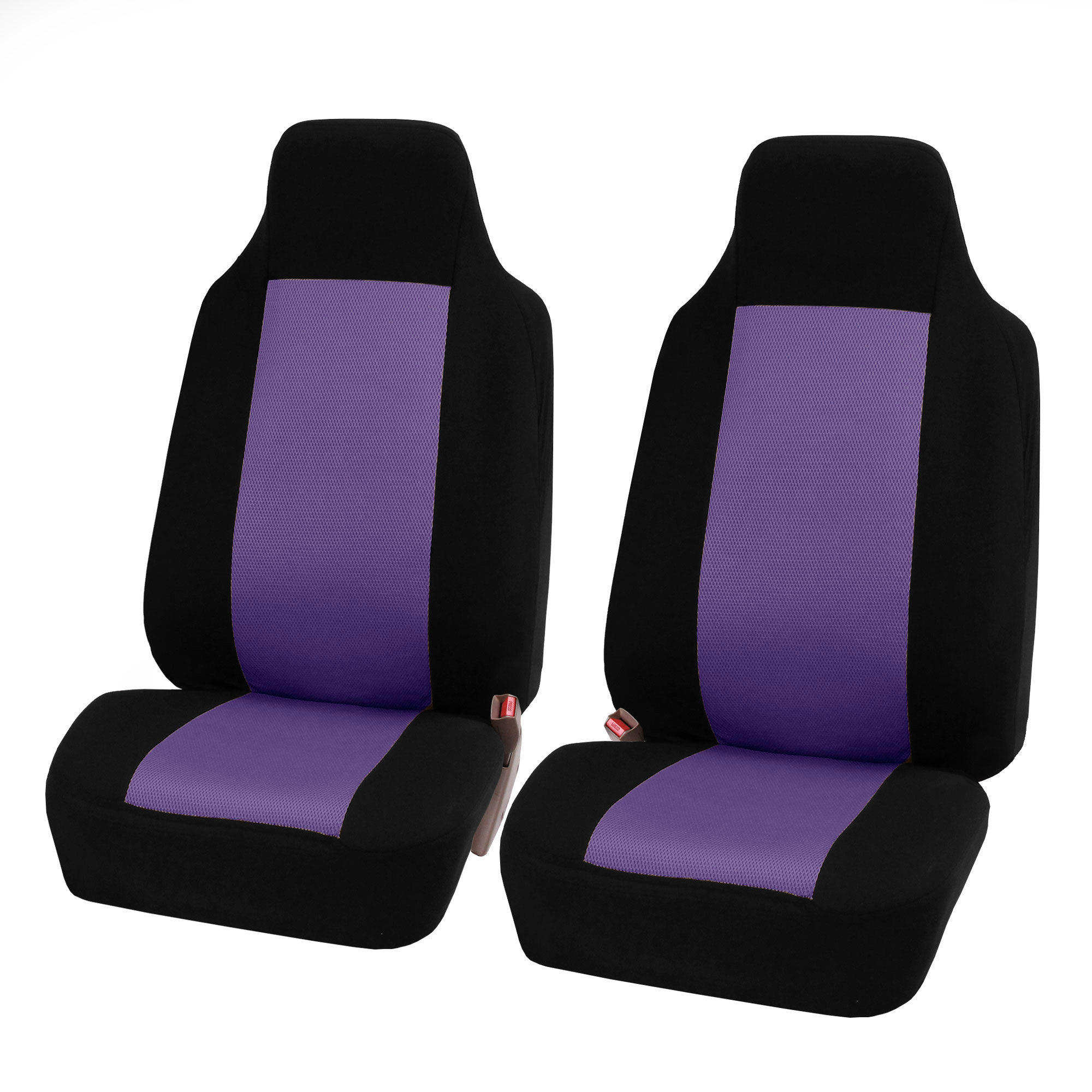 FH Group 3D Air-mesh Car Seat Covers, Front Set, Purple and Black