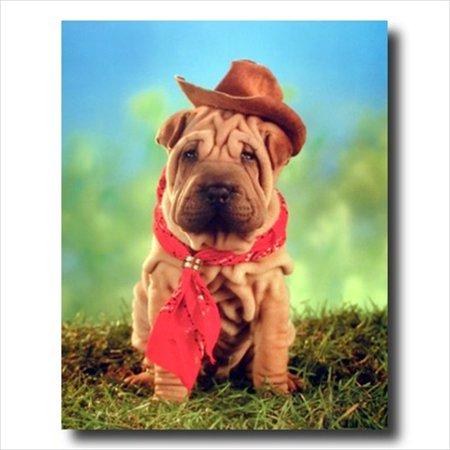 Shar Pei Jewelry (Shar Pei Puppy Dog Cowboy Hat Wall Picture Art)