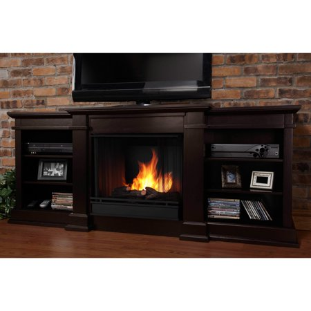Real Flame Fresno Ventless Gel Fireplace - Dark Walnut - Real Flame Fresno Ventless Gel Fireplace - Dark Walnut - Walmart.com
