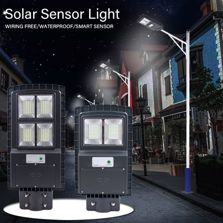Waterproof 6500K 60W 4IN1 Solar Powered Street Lighting Motion Sensor Light Control R-adar Sensing 160 LED Solar Powered Garden Security Wall Light Night Lamp IP65 Without