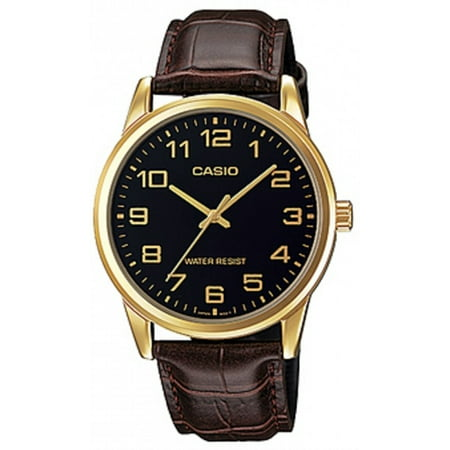 - Men's Quartz Gold Tone Stainless Steel Brown Leather Watch MTPV001GL-1B