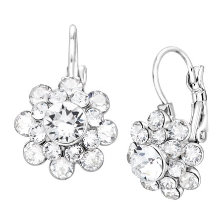 (Luminesse Flower Drop Earrings with Swarovski Crystals in Sterling Silver-Plated Brass)
