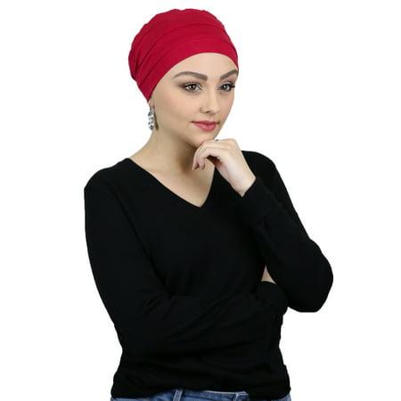 c88f61936402a Cancer Headwear For Women Bamboo Beanie Chemo Hats Sleep Cap Head Coverings  Turban (RED) - Walmart.com