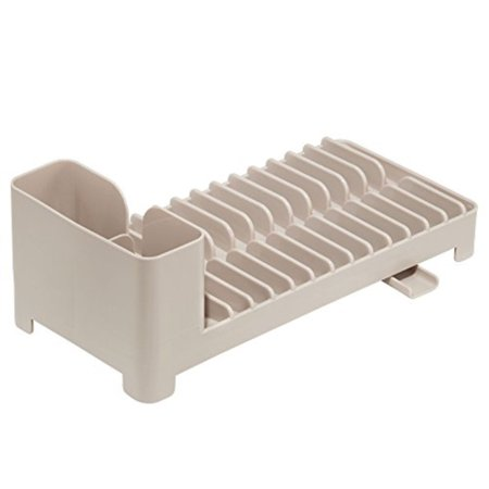 interDesign Clarity Compact Dish Drainer for Kitchen Countertop with Swivel Spout and Utensil Caddy, Taupe