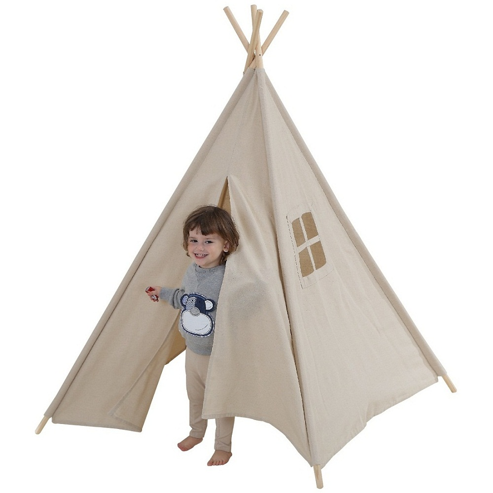 Dream House Breathable Nature Flax Boys and Girls Beige Playhouse Tent