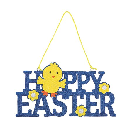 Happy Easter Glitter Foam Door Sign for Easter - Home Decor - Decorative Accessories - Wall Decor - Easter - 1 Piece - Home Decor - 1 Piece Happy Easter Door Cover