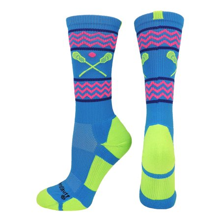 Chevron Girls Lacrosse Socks with Lacrosse Sticks Athletic Crew Socks (Electric Blue/Neon Green, Large) - Electric Blue/Neon Green,Large