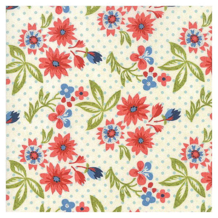 Biscuits Gravy - Red Flowers on Cream - Moda Cotton Fabric