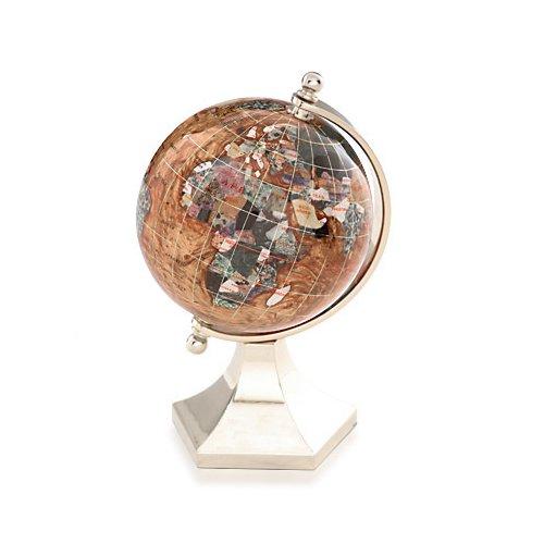 Kalifano Copper Amber 4-in. Gemstone Globe and Light Gold Contempo Stand