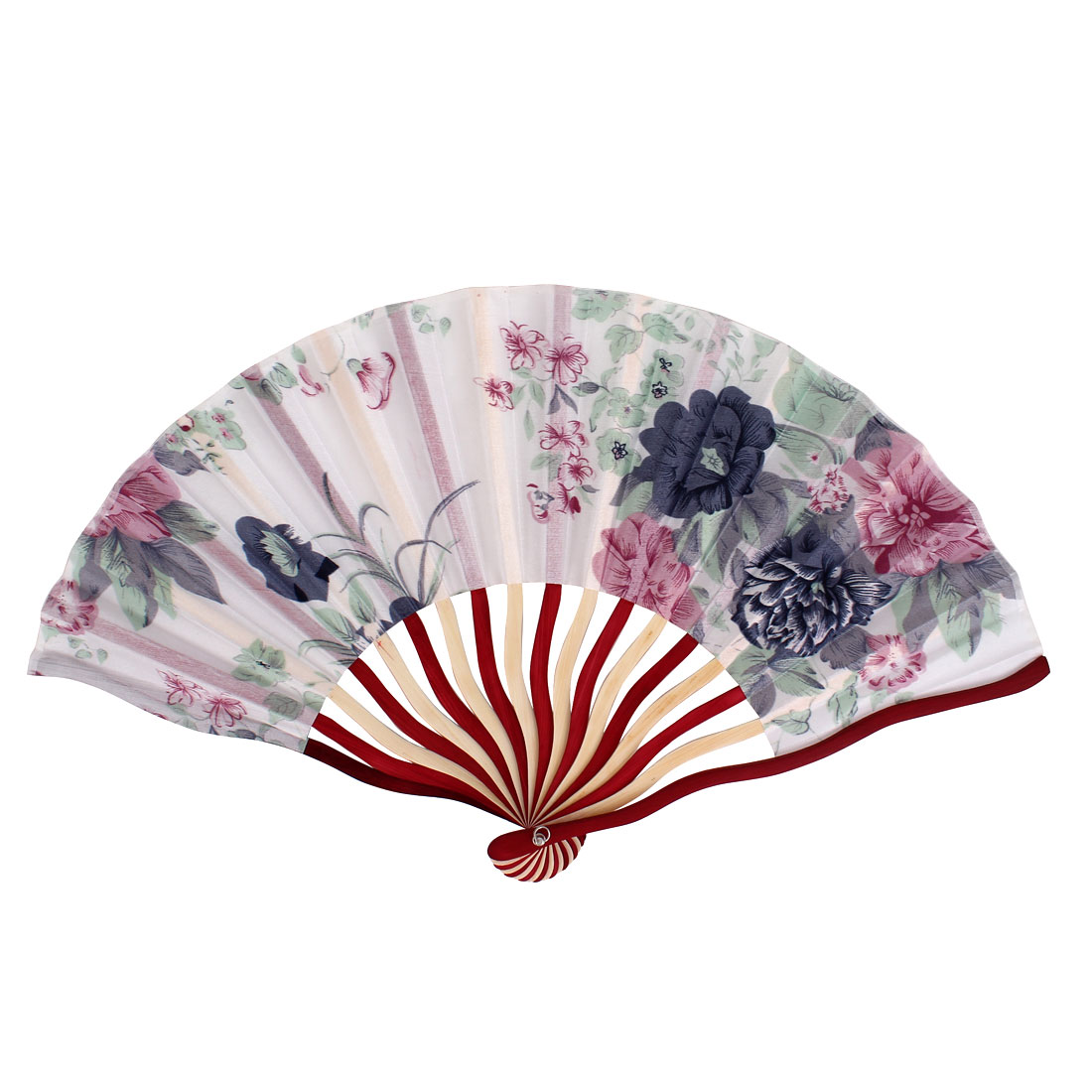 Chinese Peony Print Fabric Cloth Ivory Red Wood Frame Handheld Foldable Hand Fan