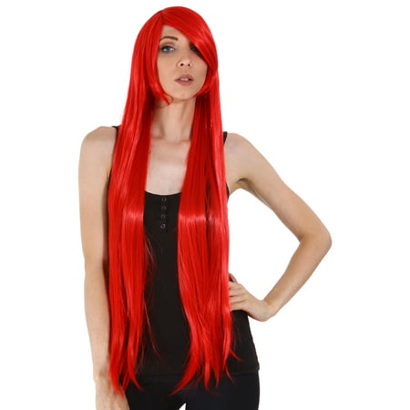 Women Cosplay Costume Party Long Straight Wigs Red
