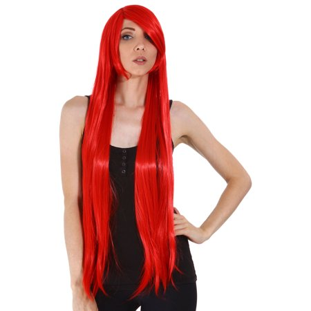 Women Cosplay Costume Party Long Straight Wigs Red for $<!---->