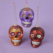 "Pack of 3 Purple, Crimson and Orange Skull Glass Halloween Ornaments 3.75"""