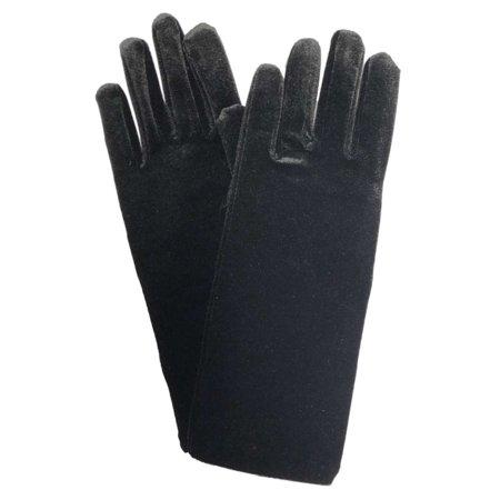 Womens Black Velvet Stretch Fit Gloves Unlined