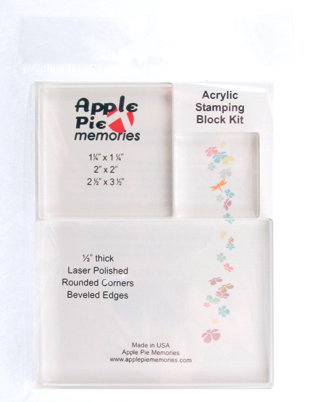 Apple Pie Memories Acrylic Stamp Block with Alignment Grid 3-Inch by 4-Inch by 1//2-Inch Thick