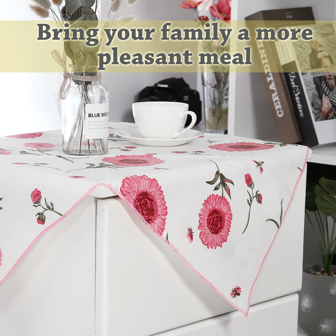 Vinyl Plastic Home Picnic Square Tablecloth Table Cloth Cover Water/Oil Stain Resistant Pink 35 x 35 Inch Sunflower Patt - image 3 of 8