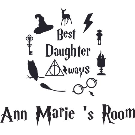 Best Daughter Always Harry Potter Customized Wall Decal - Custom Vinyl Wall Art - Personalized Name - Baby Girls Boys Kids Bedroom Wall Decal Room Decor Wall Stickers Decoration Size (40x40 (Best Toddler Boy Rooms)