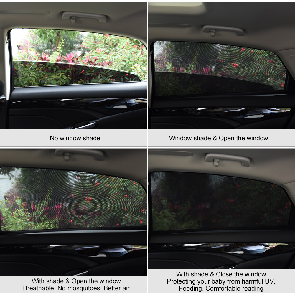 Fits Most Cars//Suvs Diono Breeze N Shade Pack of 2 Universal Car Rear Side Window Baby Kid Pet Breathable Sun Shade Mesh Backseat