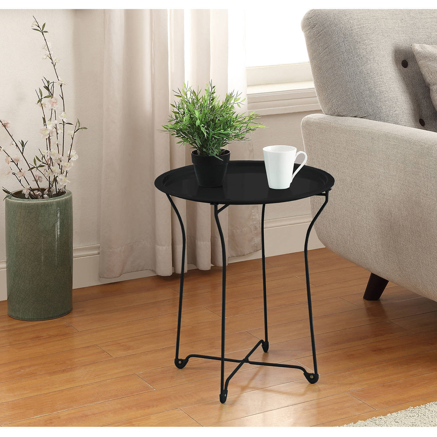 Mainstays Metal Tray Side Table Multiple Colors