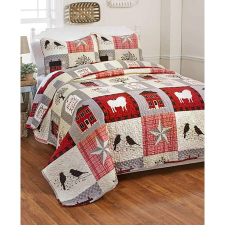 Country Farmhouse Homestead: Home Sweet Home & Rustic Stars King Quilt & Shams ()