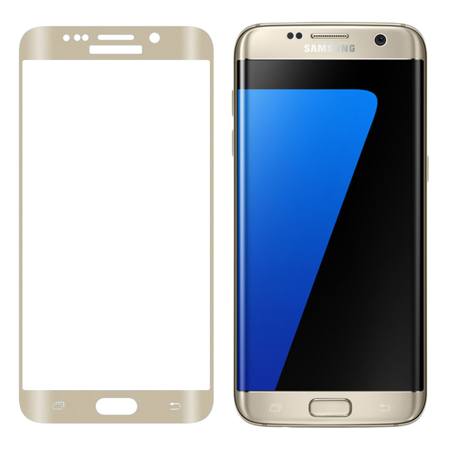 SOJITEK - Samsung Galaxy S7 Edge - 3D Full Curved Cover Tempered Glass Screen Protector (Silver)