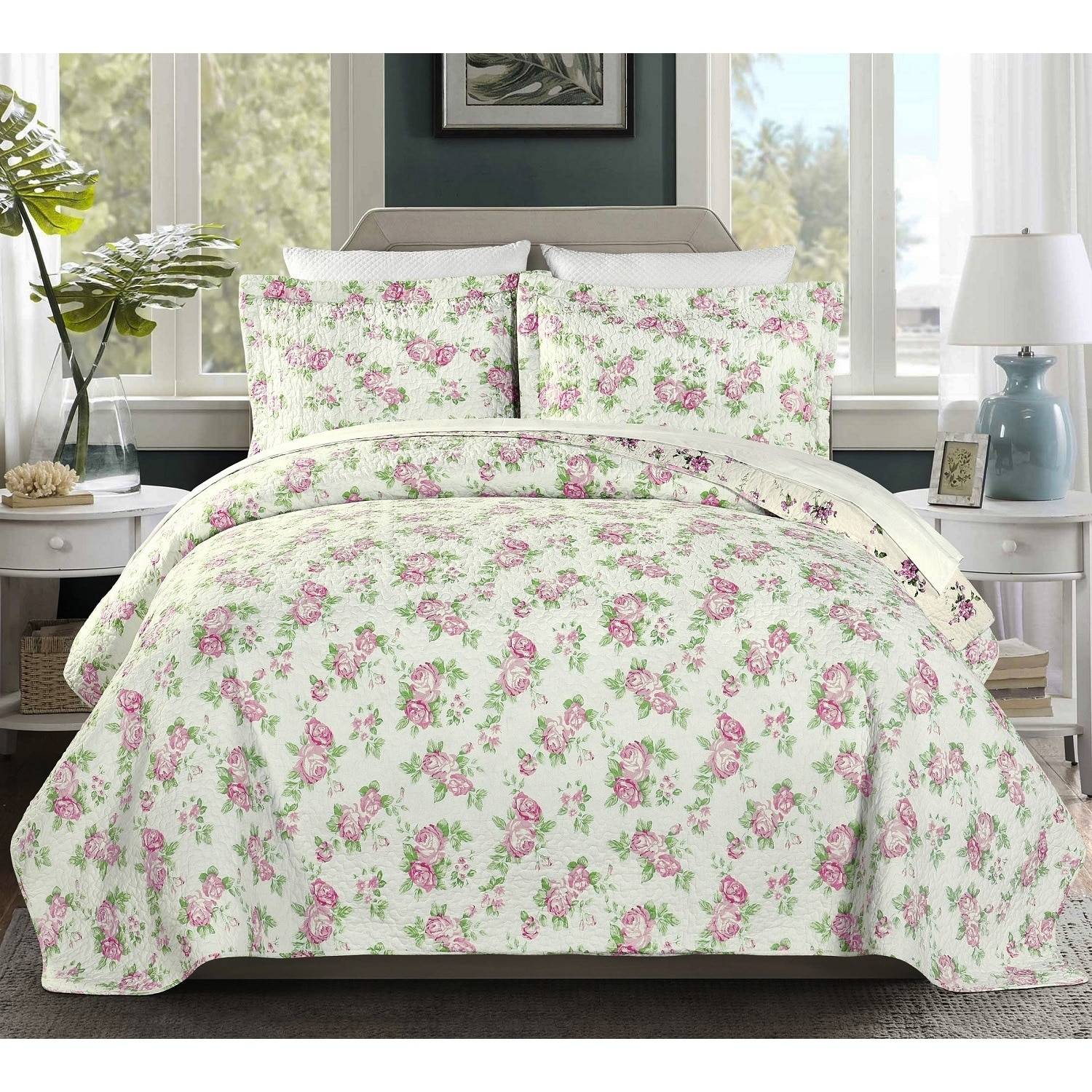 Chezmoi Collection Dakota 3-Piece Reversible Pink Rose Vintage Washed 100% Cotton Quilt Set