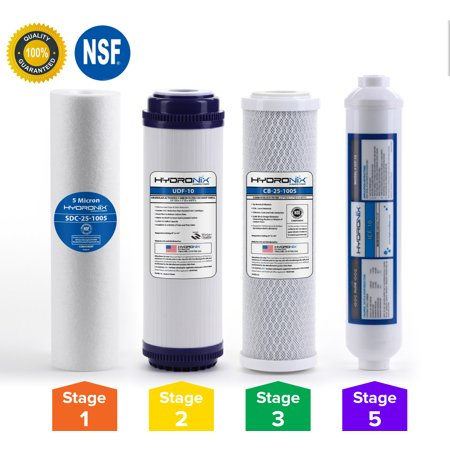 "Hydronix 5 Stage 4pc Reverse Osmosis RO Water Filter Cartridges, Pre & Post Replacement Set SED UDF CTO GAC - 2.5"" x 10"""