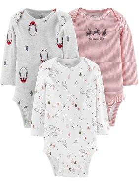 Little Planet Organic Long Sleeve Holiday Bodysuits, 3pk (Baby Boys or Baby Girls, Unisex)