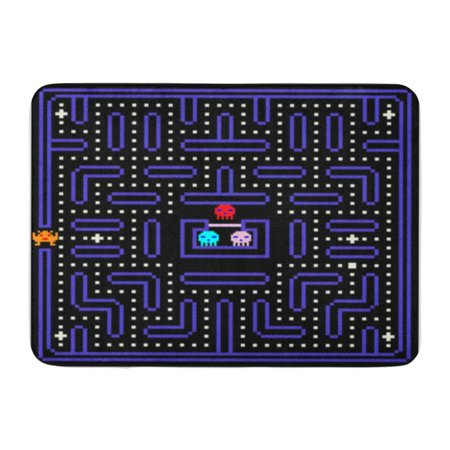SIDONKU Geek 8 Bit Pixel Retro Arcade Game Old Video Doormat Floor Rug Bath Mat 30x18 inch