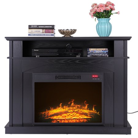 Jaxpety 41 Wood Console Electric Fireplace Heater Tv Stand Media Entertainment Storage Home Furniture Gray W Remote Control