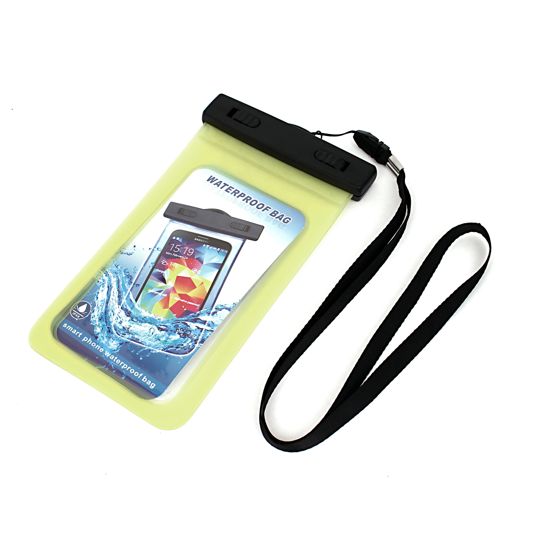 Unique Bargains Waterproof Bag Holder Pouch Yellow for 5.5  Mobile Phone w Neck Strap