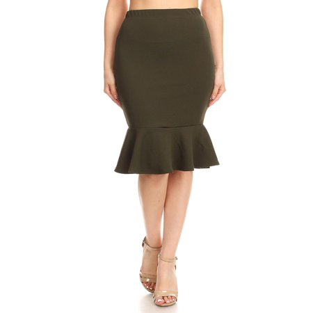 Sexy Ruffle Skirt - MOA COLLECTION Women's Solid Casual Sexy Elastic Waistband Knee Ruffle Work Pencil Skirts/Made in USA