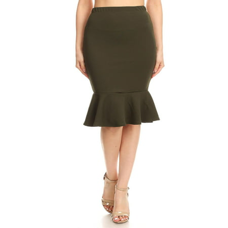 - MOA COLLECTION Women's Solid Casual Sexy Elastic Waistband Knee Ruffle Work Pencil Skirts/Made in USA