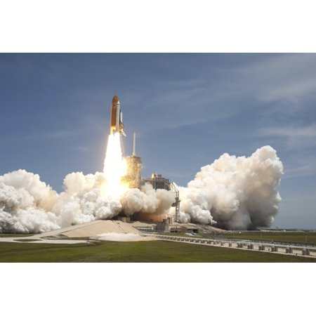 Space Shuttle Atlantis Rumbles The Space Coast As It Lifts Off From Kennedy Space Centers Launch Pad 39A Canvas Art   Stocktrek Images  34 X 23