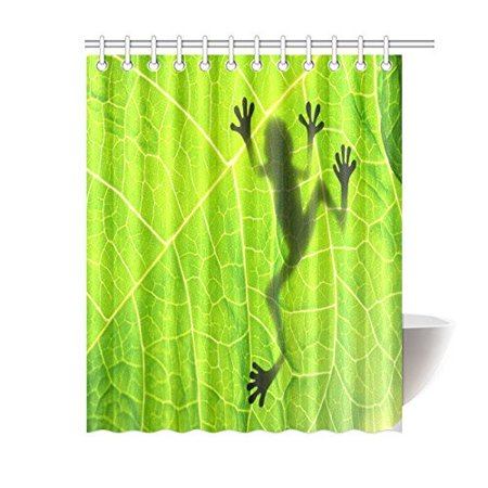 MYPOP Funny Frog Decor Shower Curtain, Tropical Rainforest Vibrant Little Tree Frog Silhouette Shadow on
