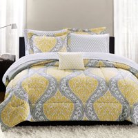 Mainstays Yellow Damask 6-8 Piece Bed in a Bag Bedding Set